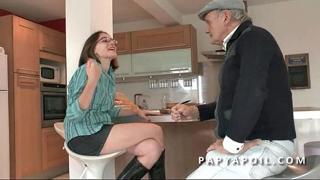 Grandpa fucks a young and pretty brunette student