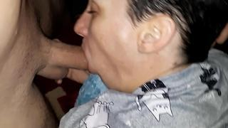 Wife swallowing cum and facefucked