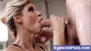 Handsome MILF knows how to make big dicks cum in her mouth